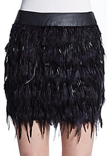 Saks Fifth Avenue RED Feather Mini Skirt