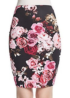 Saks Fifth Avenue RED Floral Print Scuba Pencil Skirt