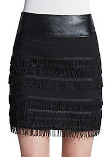 Saks Fifth Avenue RED Fringed Mini Skirt