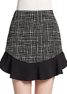 Saks Fifth Avenue RED Grid Print Flounce Skirt