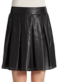 Saks Fifth Avenue RED Laser-Cut Faux Leather Skirt