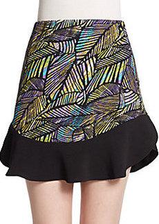 Saks Fifth Avenue RED Leaf Print Flounce Skirt