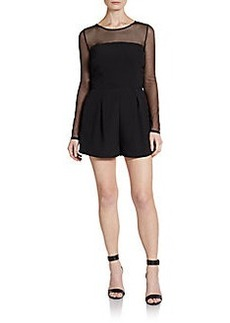 Saks Fifth Avenue RED Mesh Illusion Short Jumpsuit