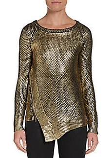 Saks Fifth Avenue RED Metallic-Finished Zip Sweater