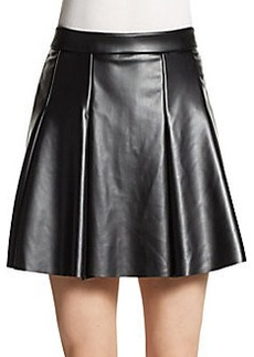 Saks Fifth Avenue RED Pleated Faux Leather Circle Skirt