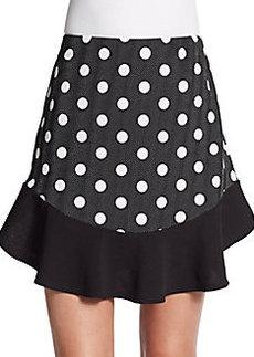 Saks Fifth Avenue RED Polka-Dot Paneled Flounce Skirt