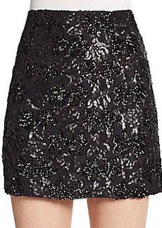 Saks Fifth Avenue RED Sequined Mini Skirt