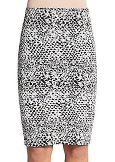 Saks Fifth Avenue RED Snake Jacquard Pencil Skirt