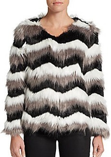 Saks Fifth Avenue RED Striped Faux Fur Jacket