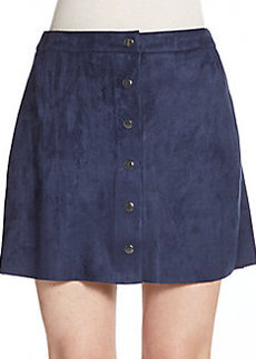 Saks Fifth Avenue RED Sueded Snap-Front Miniskirt