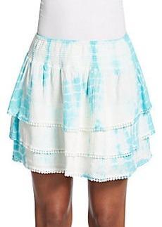 Saks Fifth Avenue RED Tie Dye Tiered Miniskirt
