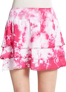 Saks Fifth Avenue RED Tie-Dyed Gauze Tiered Skirt