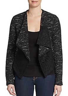 Saks Fifth Avenue RED Tweed & Lace Jacket