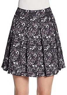 Saks Fifth Avenue RED Winter Floral Pleated Skirt