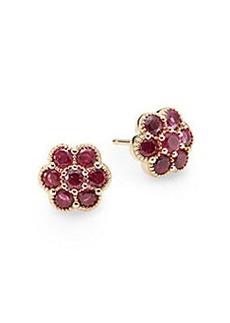 Saks Fifth Avenue Ruby & 14K Yellow Gold Flower Stud Earrings