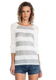 Sanctuary Baseball Stripe Sweater in White