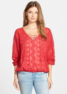 Sanctuary 'Cheyenne' Lace Inset Embroidered Boho Top
