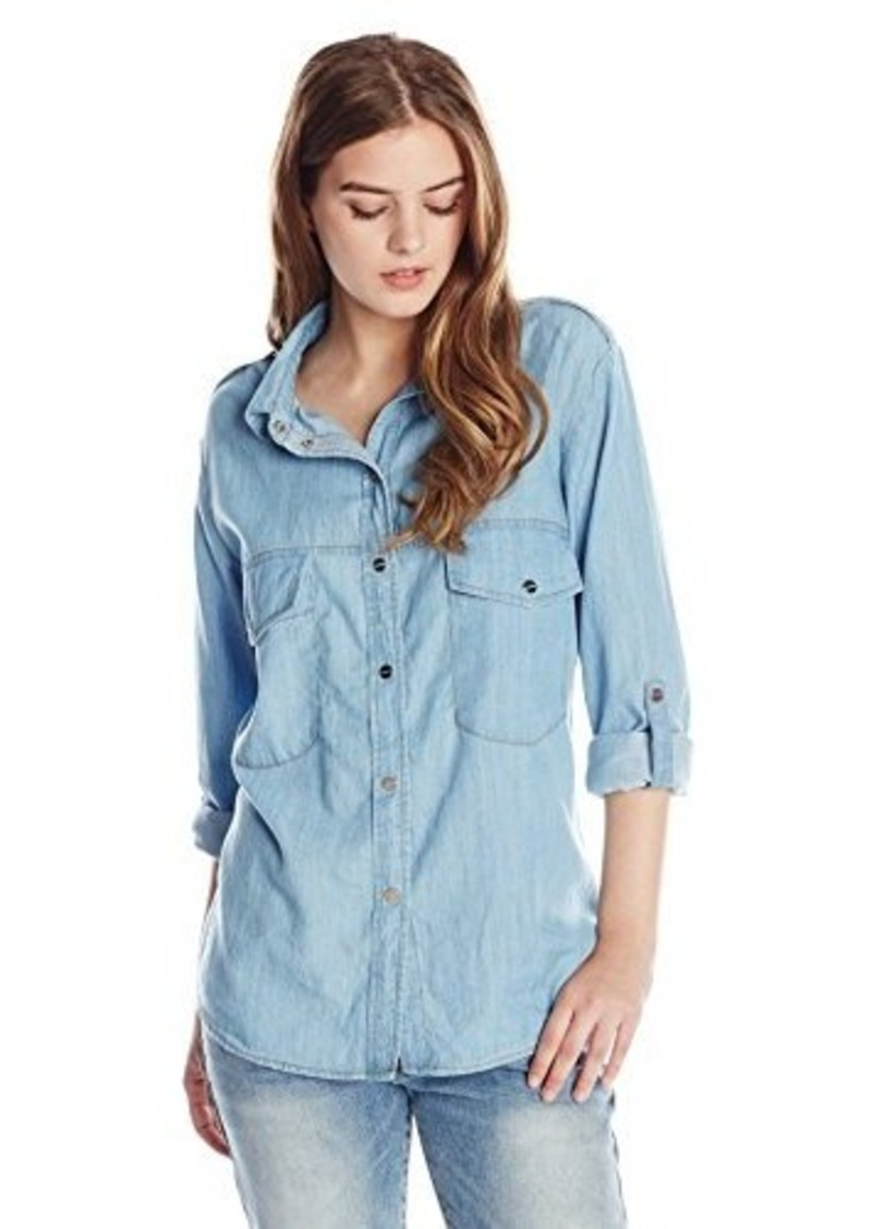 sanctuary clothing women 39 s boyfriend denim long sleeve shirt
