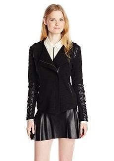 Sanctuary Clothing Women's Knit Racer Vegan Leather Jacket