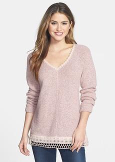 Sanctuary Crochet Trim V-Neck Pullover