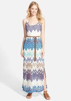 Sanctuary 'Island' Print Belted Racerback Crochet Maxi Dress