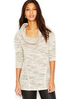 Sanctuary Long-Sleeve Cowl-Neck Marled-Knit Sweater