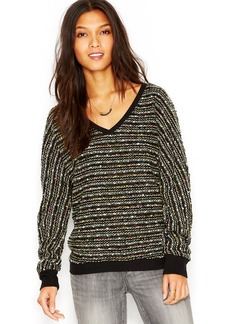 Sanctuary Long-Sleeve V-Neck Marled-Knit Sweater