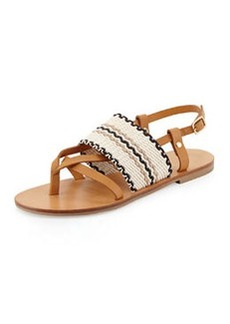 Keena Leather Thong Sandal, Tan/Ivory