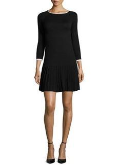 Shoshanna 3/4-Sleeve Pleated-Skirt Dress  3/4-Sleeve Pleated-Skirt Dress