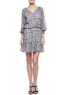 Shoshanna 3/4-Sleeve Printed Peasant Dress