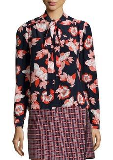 Shoshanna Allen Floral-Print Tie-Neck Blouse  Allen Floral-Print Tie-Neck Blouse