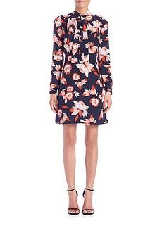 Shoshanna Allen Floral Tie-Neck Dress