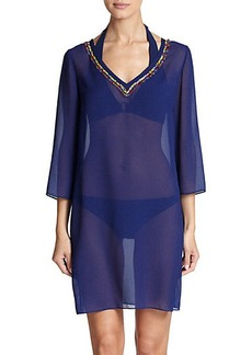 Shoshanna Bead-Accented Sheer Tunic
