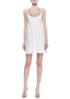 Shoshanna Beaded Halter Full-Skirt  Dress