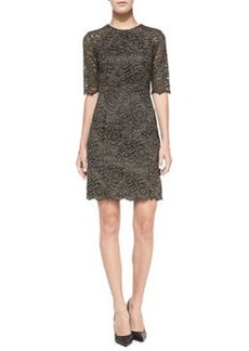Shoshanna Beverly Half-Sleeve Lace Sheath Dress