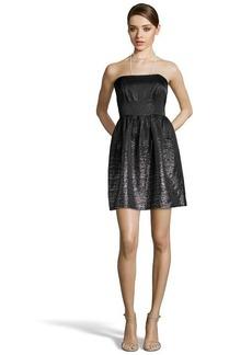 Shoshanna black and metallic silver jacquard 'Chelsea' strapless dress