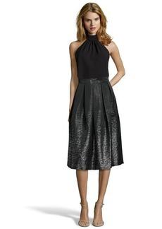 Shoshanna black and silver jacquard 'Jackie' pleated midi skirt
