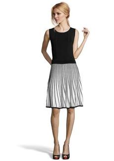 Shoshanna black and white stretch knit 'Bernadette' sleeveless sweater dress