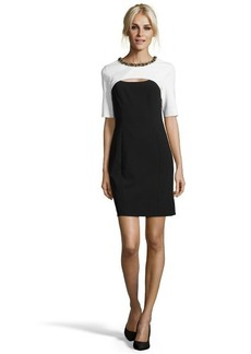 Shoshanna black and white stretch twill 'Stewart' sheath dress