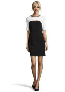 Shoshanna black and white stretch twill 'Stewart' sheath dress