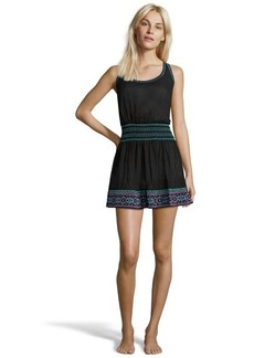 Shoshanna black cotton embroidered smock waist 'St Tropex' coverup dress
