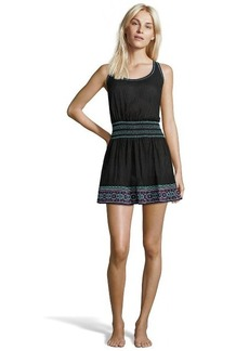 Shoshanna black cotton embroidered smock waist 'St Tropex' coverup dress