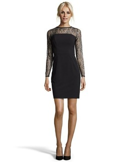 Shoshanna black crepe 'Natalia' lace-yoke sheath dress
