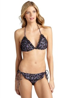 Shoshanna black floral 'Downtown Ditsy' wide ruffle string bikini bottom
