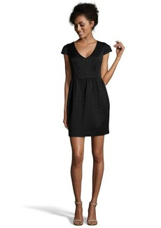 Shoshanna black geometric jacquard 'Mikkel' fit and flare dress