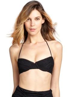 Shoshanna black lace halter underwire bikini top