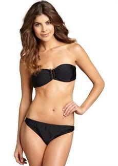 Shoshanna black matte nylon-blend embellished bikini brief