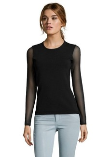 Shoshanna black rib knit and sheer mesh sleeve 'Ashlynn' sweater