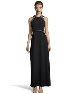 Shoshanna black stretch crepe 'Genevieve' lace contrast evening gown