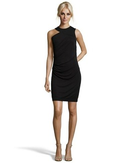 Shoshanna black stretch jersey knit 'Chantalle' asymmetrical dress